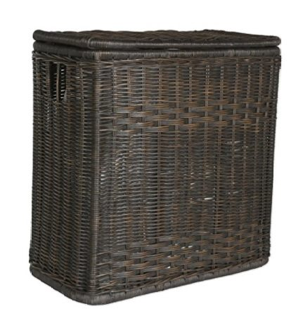 wicker Laundry basket with dividers -closed