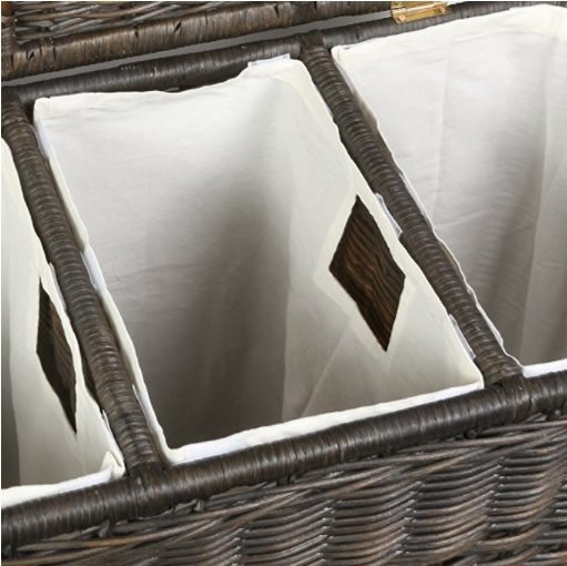 wicker laundry basket with separate compartments - interior