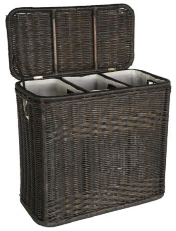 wicker hamper with dividers