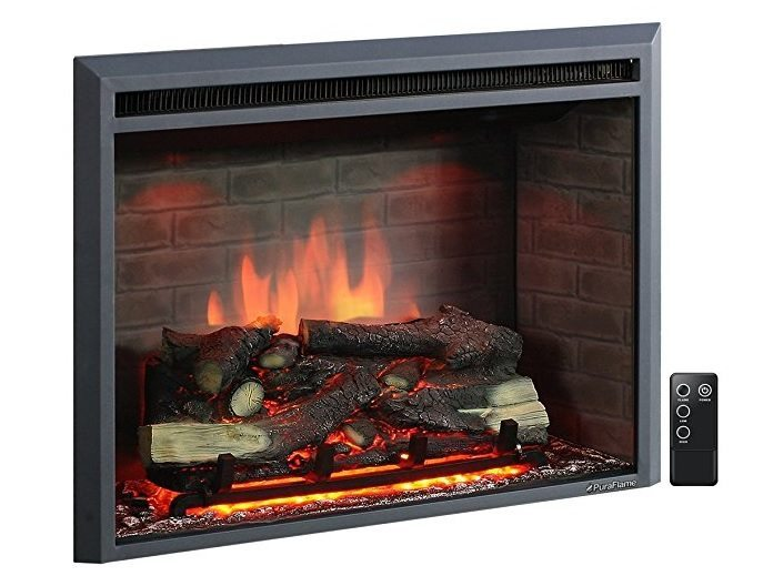 PureFlame 33 Inch Western Electric Recessed Electric Fireplace