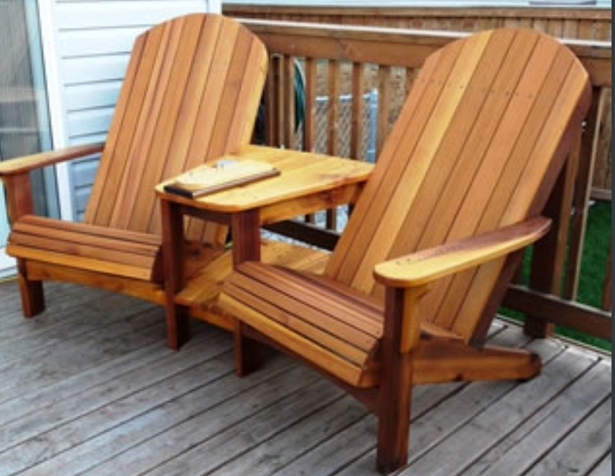 completed woodworking deck chair project