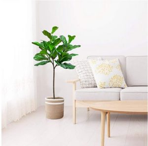 BESAMENATURE 4.5-Foot Artificial Fiddle Leaf Fig Tree Faux Ficus Lyrata